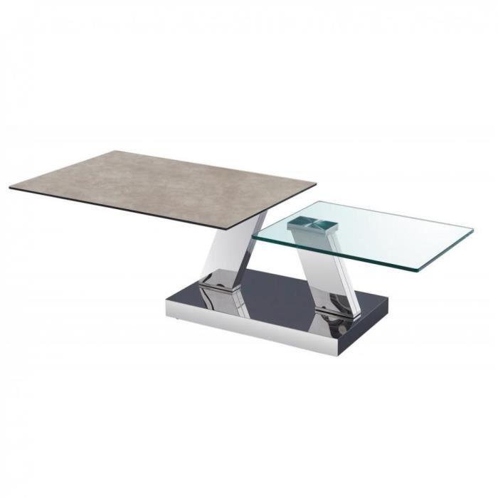 Table OPEN Ã doubles plateaux pivotants en verre trempé et céramique GRIS gris Verre Inside75