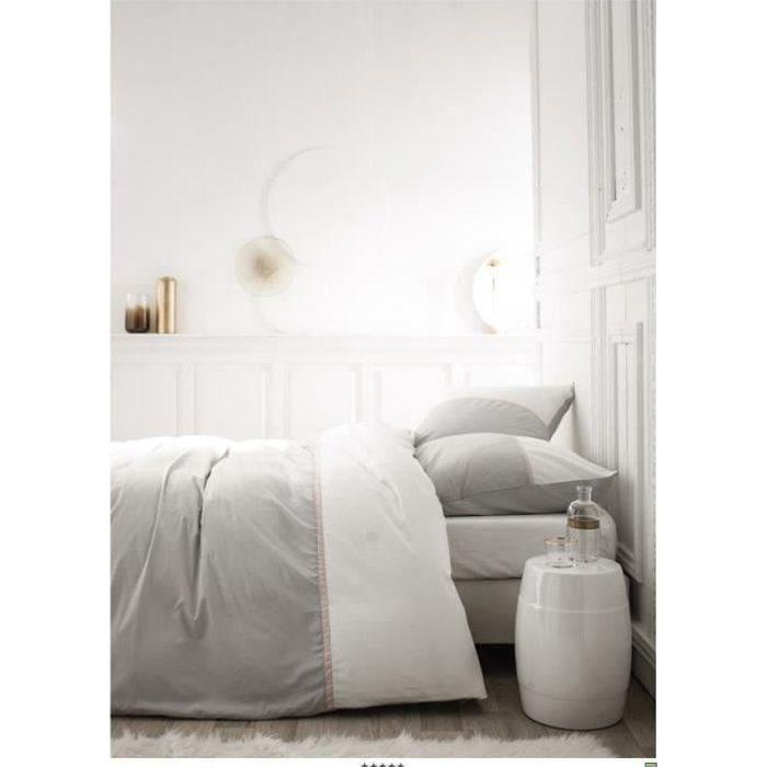 TODAY Parure de couette Gabin - 100% coton percale - 240 x 260 cm - Gris zinc TODAY