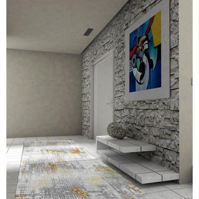 Tapis de couloir effet Mosaïque Multicolore 50x80cm