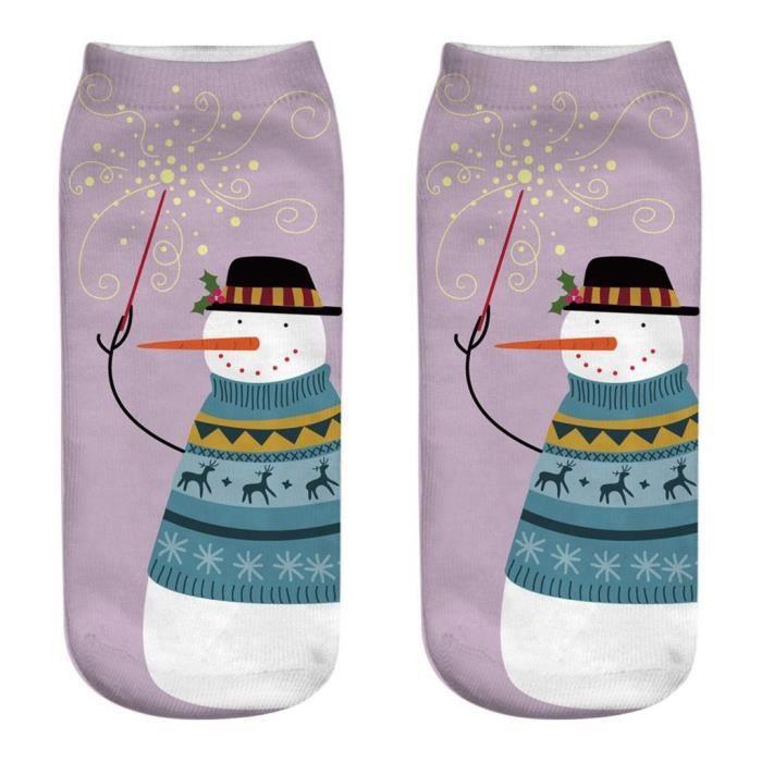 Chaussettes d'affaires de travail occasionnel 3D Noël Santa Elk imprimant des chaussettes de sport moyennes Chaussettes