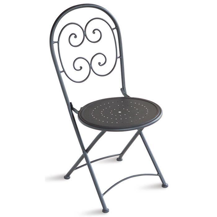 Chaise pliante de jardin en fer forgé coloris gris anthracite - Dim : H 91 x 55 x P 41 cm