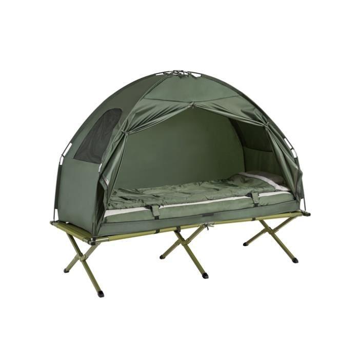 SoBuy® OGS32-GR 4-in-1! Lit de camp pliant voyage Camping avec toit, sac de couchage, matelas gonflable, sac de transport