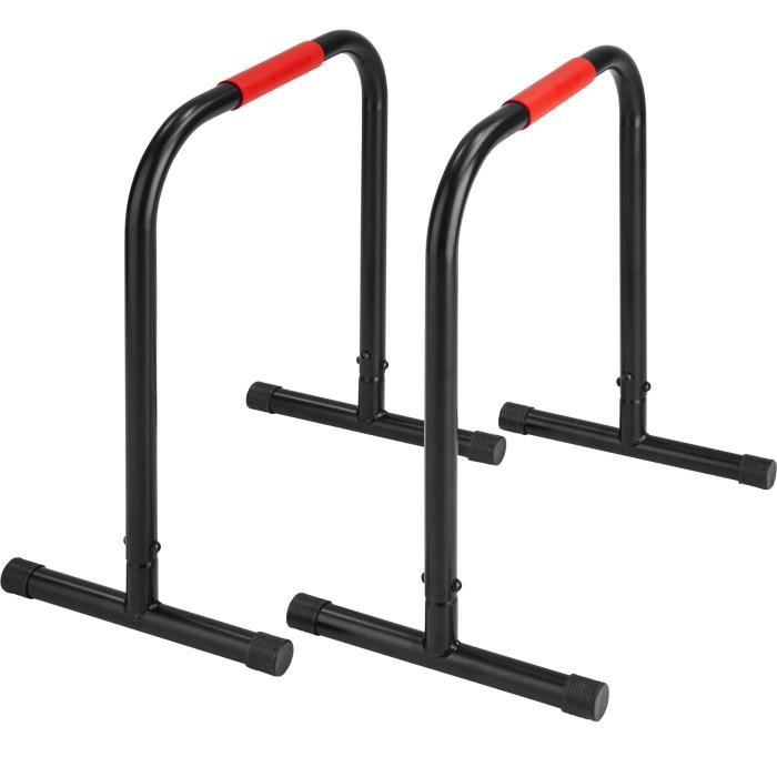 TECTAKE Barres de Musculation DIPS / Abdominaux 40 cm x 59 cm x 70 cm en Acier Noir