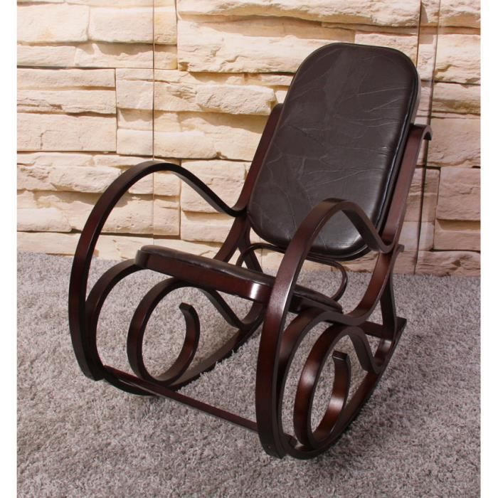 rocking chair fauteuil a bascule achat vente fauteuil cuir bois cdiscount. Black Bedroom Furniture Sets. Home Design Ideas