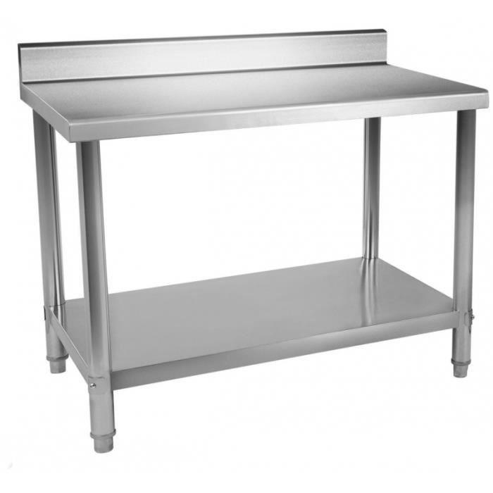 inox ajustable cm pieds de avec x 3614079 acier rebord travail professionnelle Table 100 60 SUzVqMpG