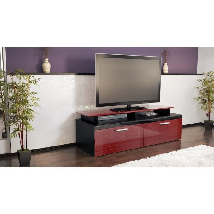 meuble tv noir bordeaux 140 cm achat vente meuble tv. Black Bedroom Furniture Sets. Home Design Ideas