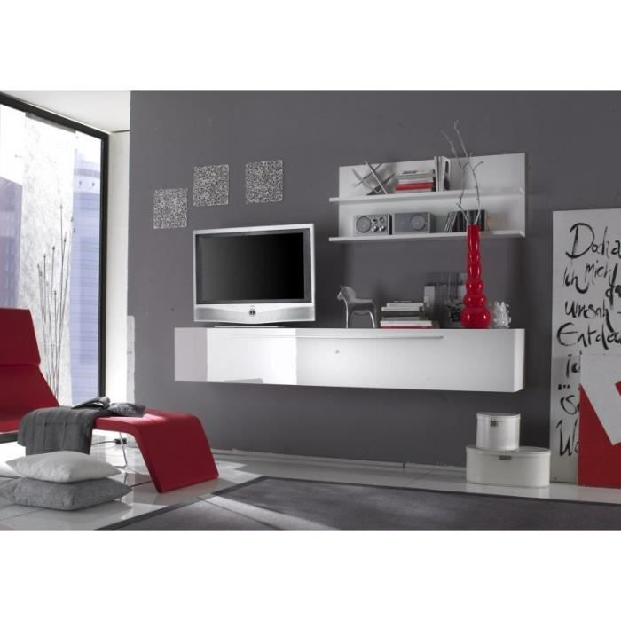 Ensemble meuble tv suspendu blanc laqu design eva blanc for Meuble de tv suspendu