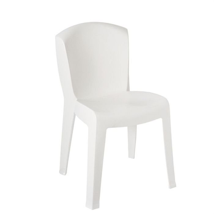 Chaise resine empilable europa blanc achat vente chaise fauteuil jardin - Chaise resine blanche ...