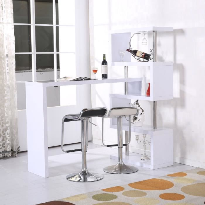 table de bar table bureau informatique biblioth que adjacente pivotante 1 360 blanc 011. Black Bedroom Furniture Sets. Home Design Ideas