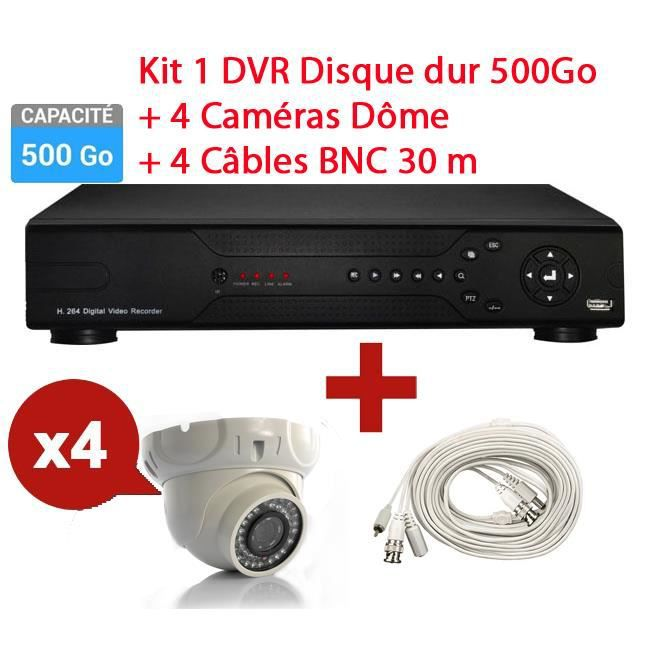 kit enregistreur 500go surveillance 4 cam ra d me prix pas cher cdiscount. Black Bedroom Furniture Sets. Home Design Ideas