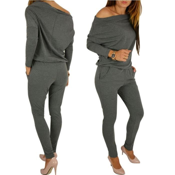 combinaison pantalon femme de soir e sexy jumpsuit chic gris uni avec manches longues bustier. Black Bedroom Furniture Sets. Home Design Ideas