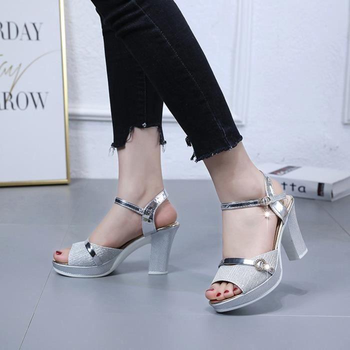 Mode Sandales Boucle Chaussures talon cheville haut Femmes L5AR3j4
