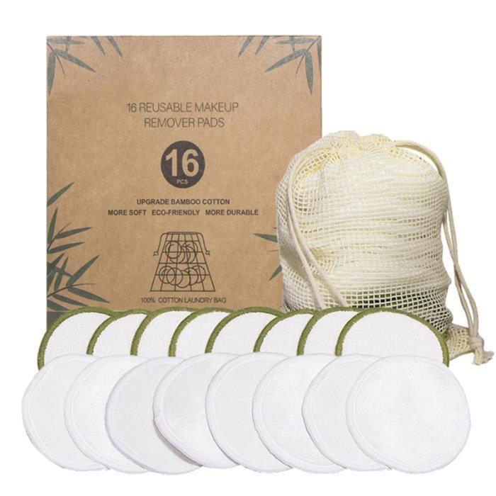 trousse de toilette en fibre de bambou Tampon de nettoyage en fibre de bambou d/émaquillant en coton lavable lavable et r/éutilisable bo/îte demballage biod/égradable velours avant et arri/ère