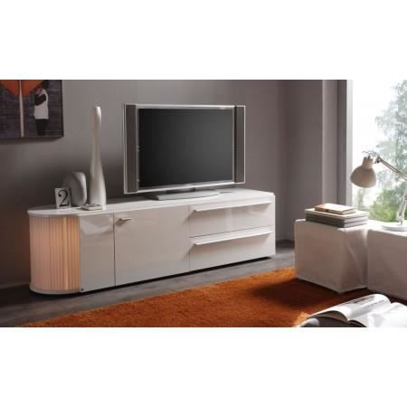 Meuble tv led blanc laqu s rial 170 cm achat vente for Meuble tv 170 cm