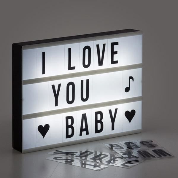 shop story panneau lampe r tro clair customiser light box 30 x 22 x 4cm inclus 84 lettres. Black Bedroom Furniture Sets. Home Design Ideas