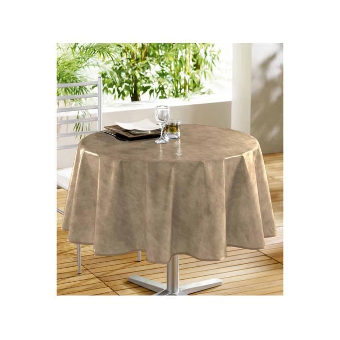 toile cir e ronde taupe marron achat vente nappe de table cdiscount. Black Bedroom Furniture Sets. Home Design Ideas