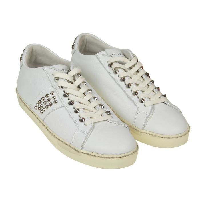 LEATHER CROWN HOMME MICONIC15 BLANC CUIR BASKETS