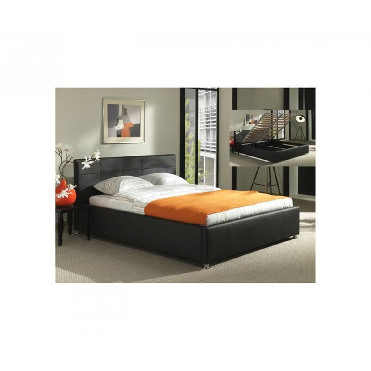 lit coffre noir sommier relevable 180x200 cm flora achat vente lit evolutif lit coffre. Black Bedroom Furniture Sets. Home Design Ideas