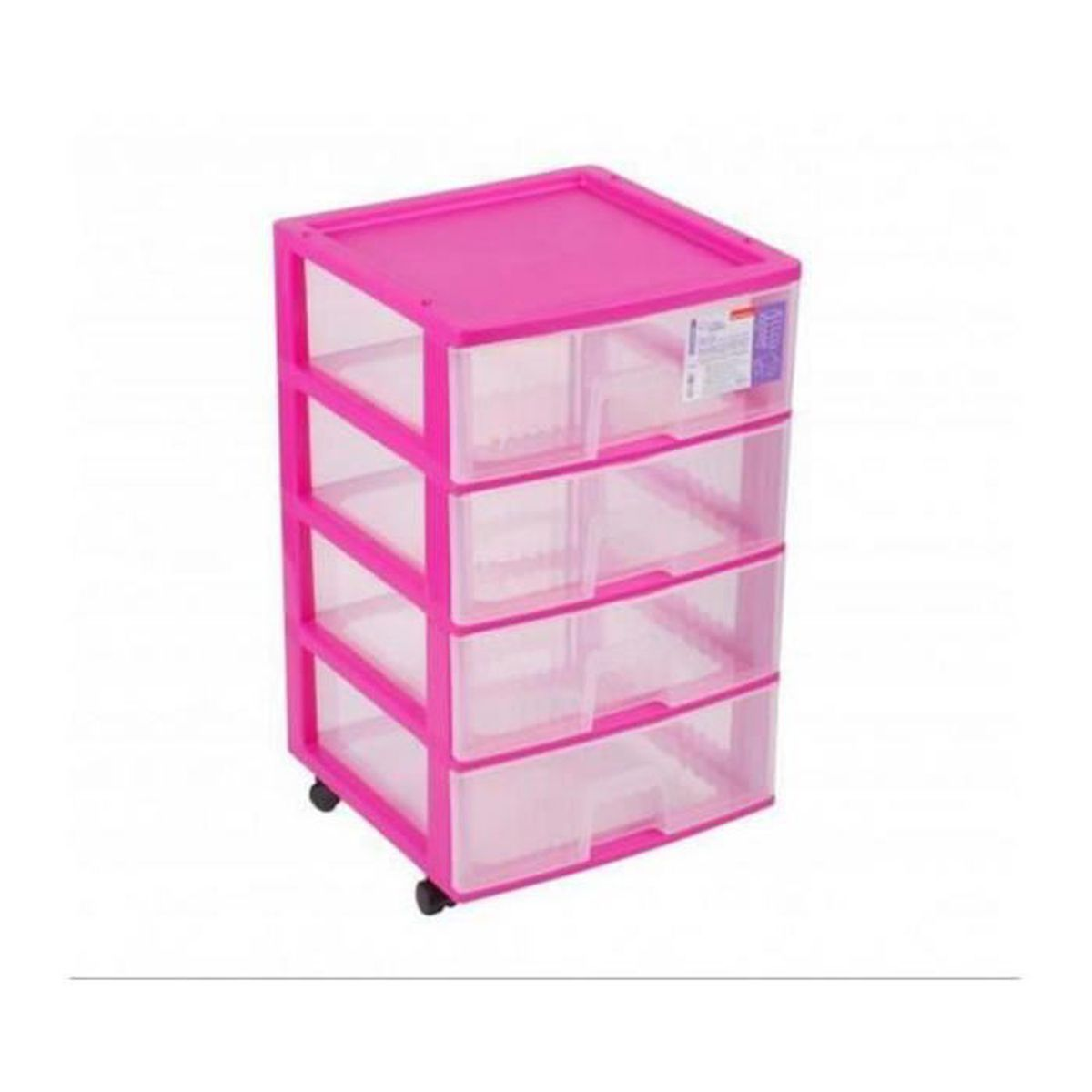 tour de rangement 4 tiroirs plastique fushia roulettes x x cm achat. Black Bedroom Furniture Sets. Home Design Ideas