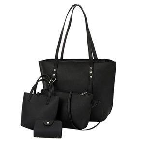 SAC À MAIN Sac ®4pcs femmes modèle en cuir sac d'épaule + ban