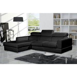 CANAPÉ - SOFA - DIVAN Canapé d'angle moderne NETO noir cuir pas cher