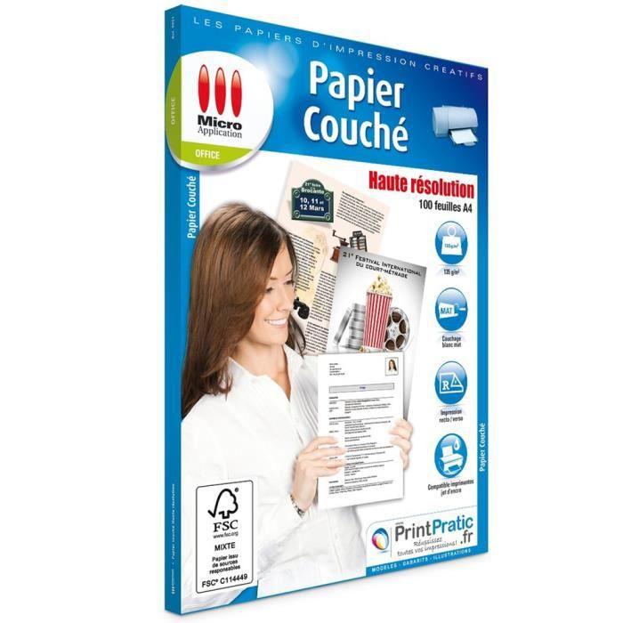Pack de 100 papiers haute définition Micro Application format A4 recto verso