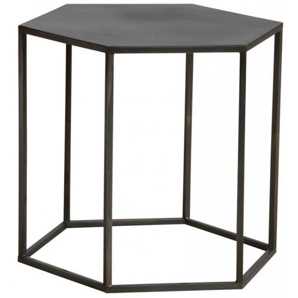 Table d'appoint hexagonale en métal Doré