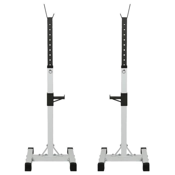 Repose Barre Musculation Support De Haltère Rack A Squat Réglable En Hauteur 105-160 cm - Blanc