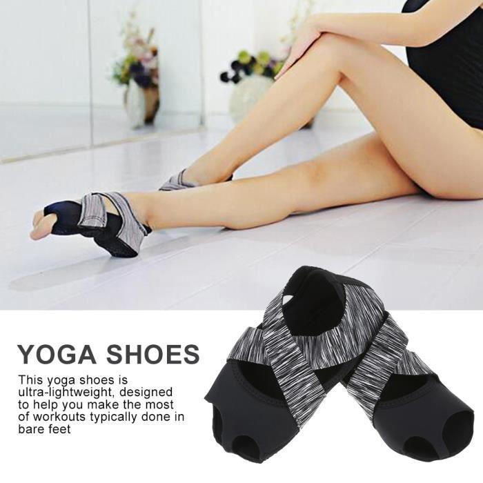 WIPES Chaussure de yoga Femmes Yoga antidérapantes Pilates Barre Soft Wrap Dance Training Gris (S 35-36)