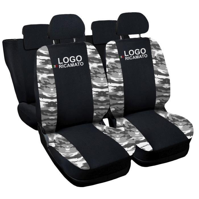 Housses de siège deux-colorés pour Jeep Renegade - noir cam. Clair