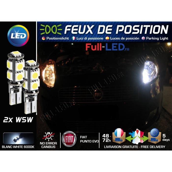 Ampoules Feux de position LED - Fiat Punto Evo- W5W blanc Xénon