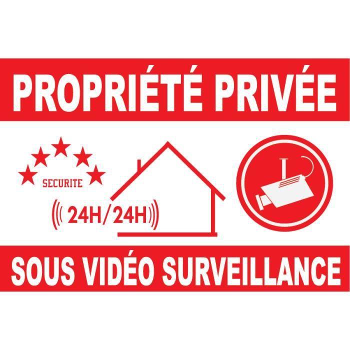 Panneau pvc de dissuasion -propriéte privée sous vidéo surveillance- 160x100mm