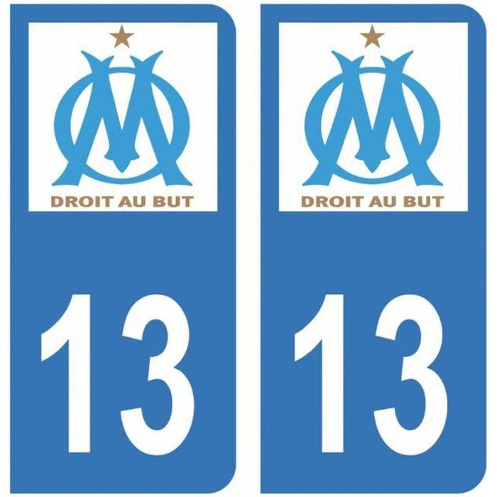 Autocollants Stickers plaque immatriculation voiture auto 13 Club OM Olympique de Marseille Foot Bleu