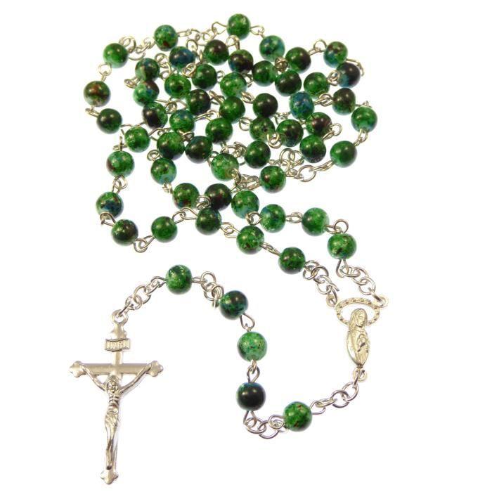 6mm perles de style en marbre vert foncé Rosaire collier de perles
