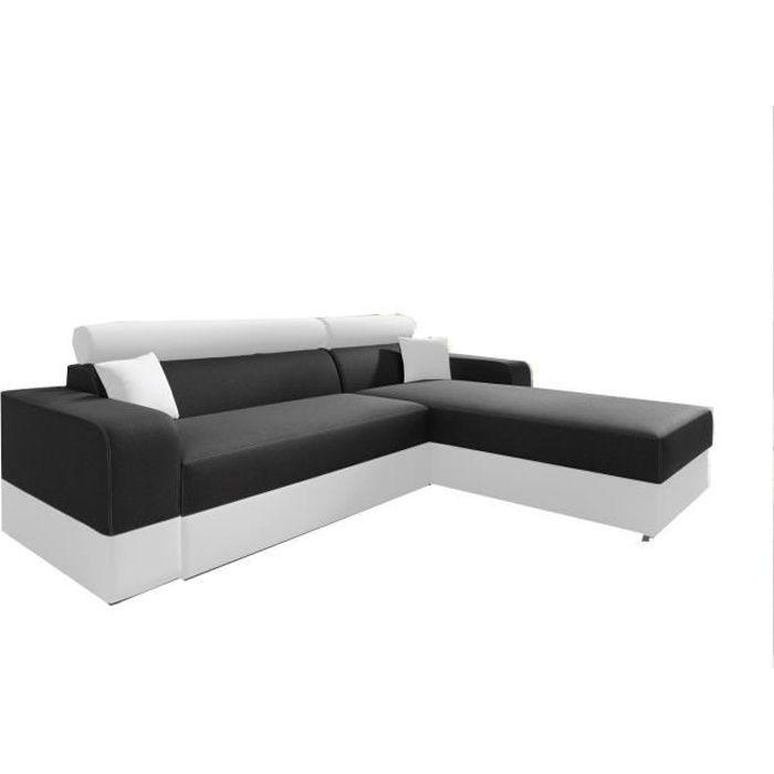 Canapé d'angle Convertibles Tissu et Simili Cuir Georg LUX (Noir + Blanc (Tissu et Simili Cuir), Canapé d'angle Droit)