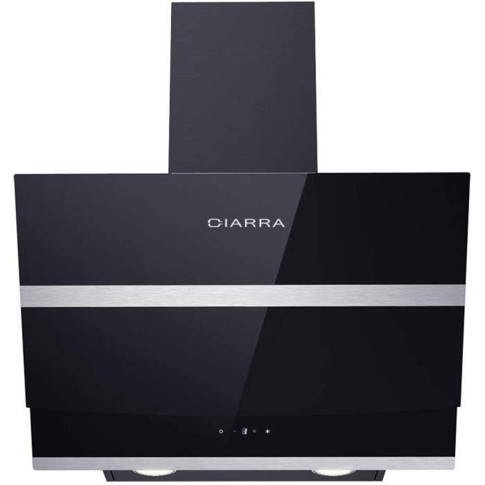 CIARRA CBCB6736N Hotte aspirante 60cm - Hotte de cuisine inclinée - Max débit 750 m3/h - 3 Vitesses - Commande Tactile - Recyclage/E