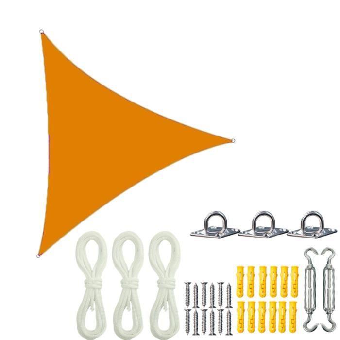 Voile d'Ombrage - Tissus Déperlant - Protection Solaire Et UV,Avec Corde Libre Et Kit de Montage,Orange 2,3x3x3M