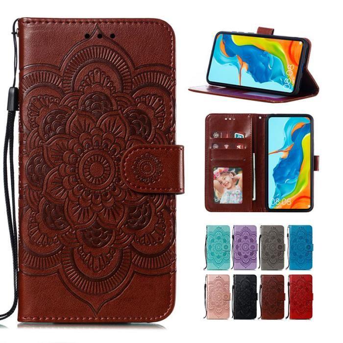 Étui Huawei P Smart Z, Porte-Cartes Mandala Fleur Motif Cuir Ultra-mince Dragonne Support Antichoc, Marron