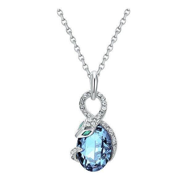 Pendentif Serpent en Cristal de Swarovski Elements Bleu et Plaqué Rhodium