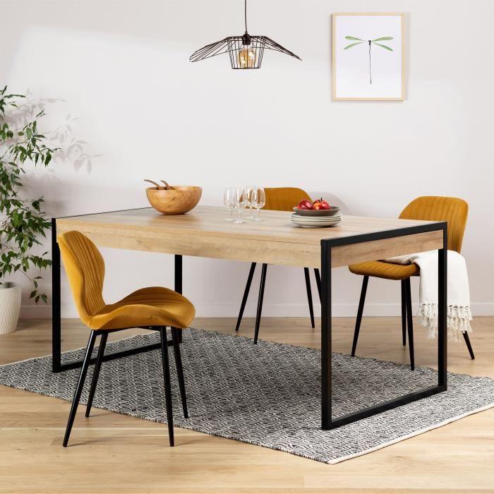 Table à manger 2 tiroirs - Pieds métal - Décor chêne riviera et noir - L 166 x P 90,2 x H 76,9 cm - HIGH ROCK