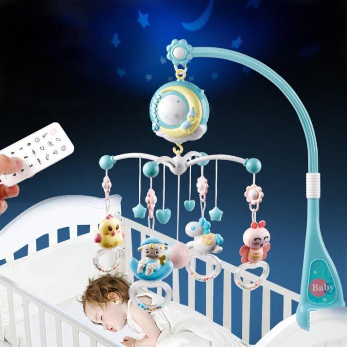 PIMPIMSKY Mobile Musical pour Lit Bébé Télécommandé Projection de Lumières Musiques Jouets Rotatifs 0-2 ans,bleu