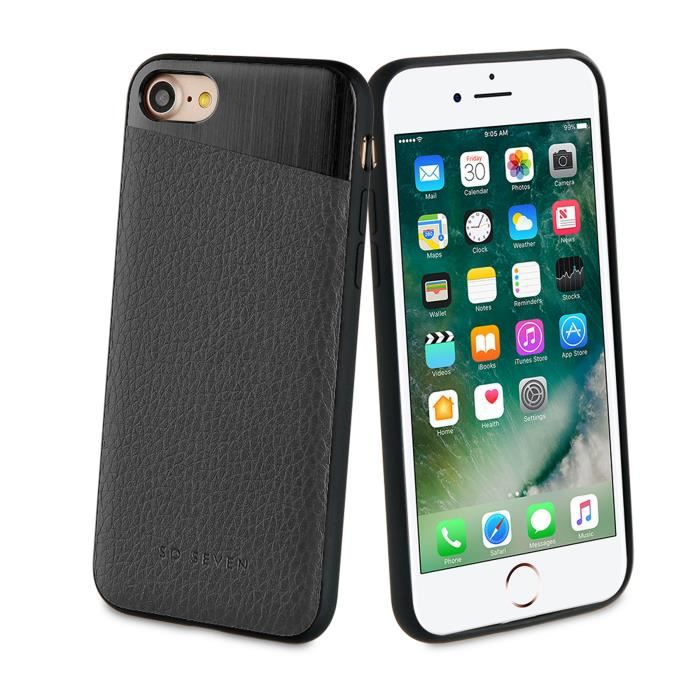 SO SEVEN METTALIC Coque PU + METAL Noir APPLE IPHONE 7