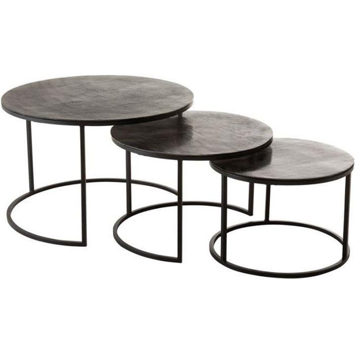 Tables gigognes rondes Métal noir - ZANDVORT - L 80 x l 80 x H 40 cm
