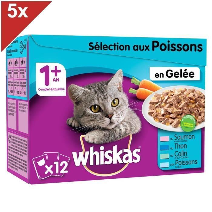 WHISKAS 60 Sachets fraîcheur gelée sélection aux poissons pour chat 100g (5x12)