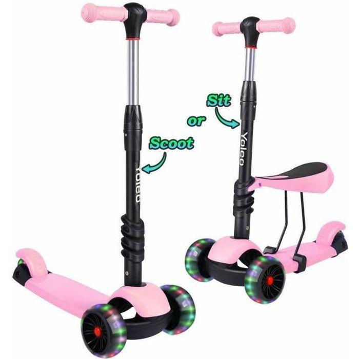 Yoleo 3 en1 Trottinette Enfants 3 Roues avec Siège Réglable Roues à LED Scooter Enfant 2-8 Ans Rose