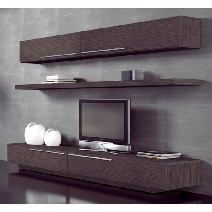 meuble mural tv etage couleur marron mati re m achat. Black Bedroom Furniture Sets. Home Design Ideas