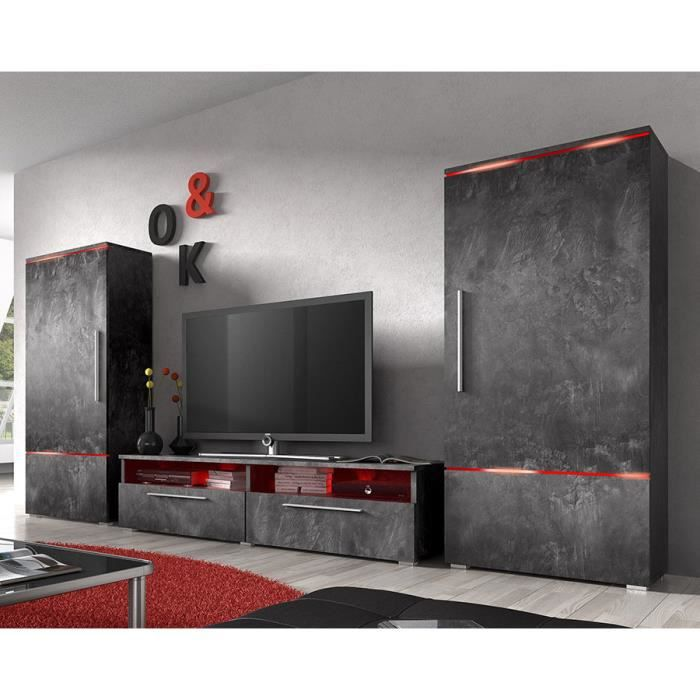 ensemble meuble tv couleur effet b ton cir design canon 3 sans clairage achat vente meuble. Black Bedroom Furniture Sets. Home Design Ideas