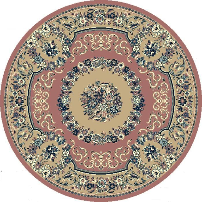 tapis de salon rond 160 ref 2850 rose beige achat vente tapis cdiscount. Black Bedroom Furniture Sets. Home Design Ideas