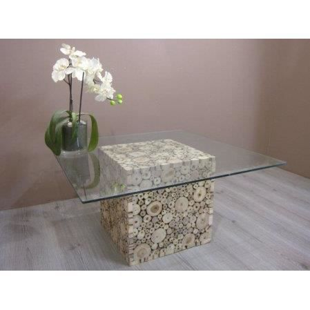 Table basse salon carr en rondins de bois teck achat vente table bass - Table basse carre bois ...
