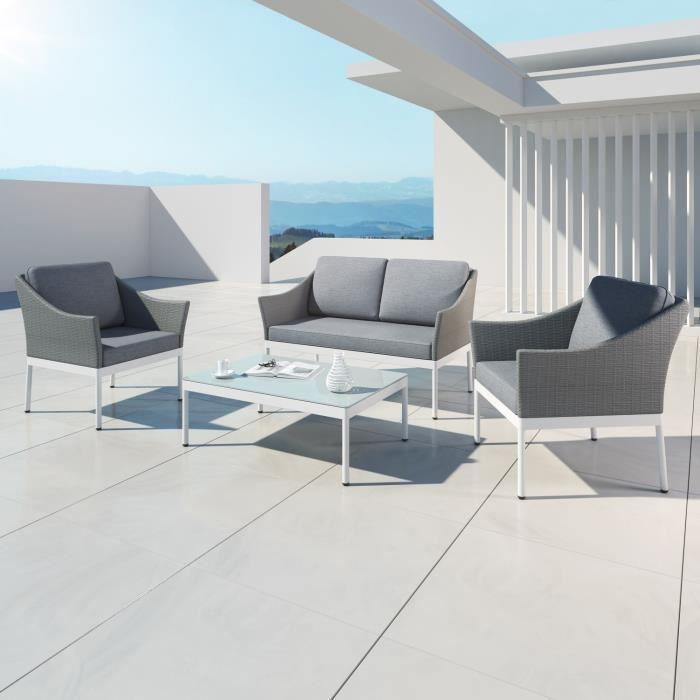 HELGA - Ensemble salon de jardin - 4 places - Aluminium et ...